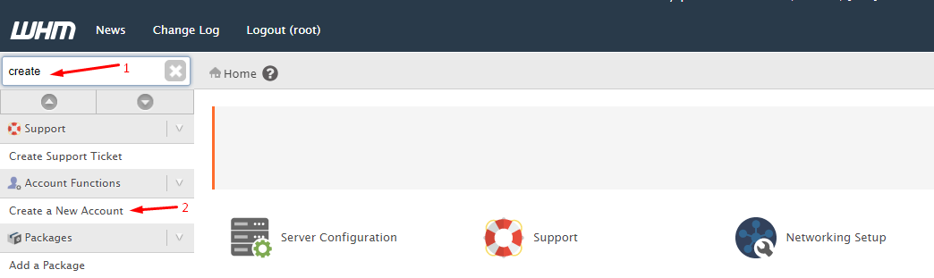 create cpanel account
