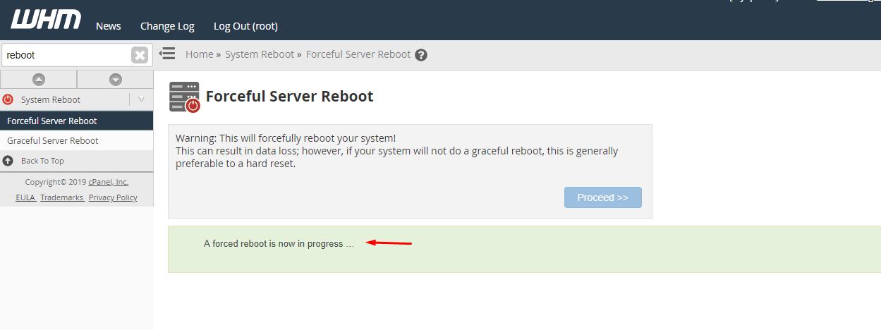 reboot vps
