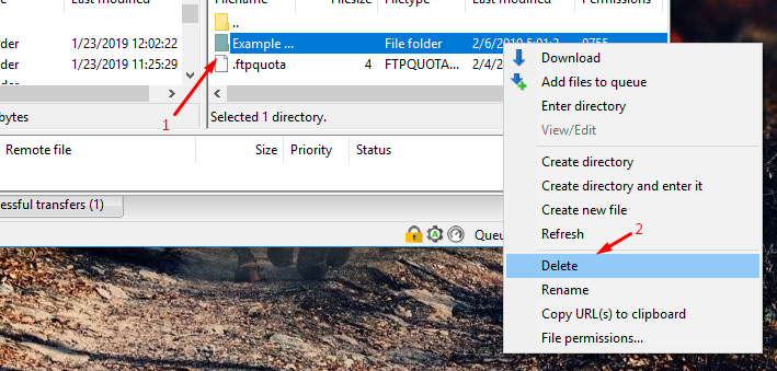 Delete folder via Filezilla